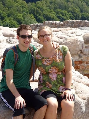 Kate Eloranta (right) convinced her boyfriend, Nick Ryan, to accompany her on a teaching excursion in Lithuania.