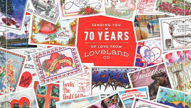 Designed by John Metcalf, this year's Valentine's Day card produced by the Loveland Chamber of Commerce features images of past cards.
