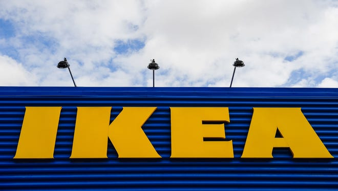 The logo of IKEA is pictured at the Europe's biggest Ikea store in Kungens Kurva, south-west of Stockholm on March 30, 2016.