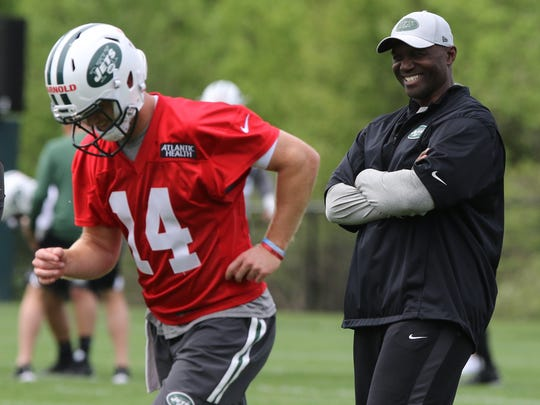 Head coach Todd Bowles and quarterback Sam Darnold during practice.