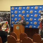 Binghamton Senators minority owner Tom Mitchell speaks to a group of media, fans and staff on Wednesday at the Floyd L. Maines Veterans Memorial Arena.