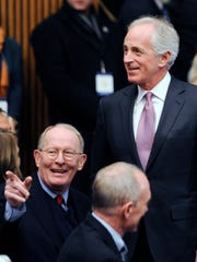 Sens. Bob Corker, right, and Lamar Alexander, left,