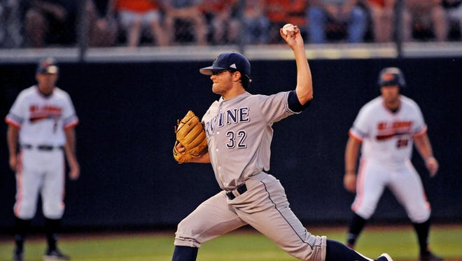 UC Irvine pitcher Elliot Surrey throws a pitch during the first inning of an NCAA college baseball super regional tournament game in Stillwater, Okla., Friday, June 6, 2014. (AP Photo/Brody Schmidt)