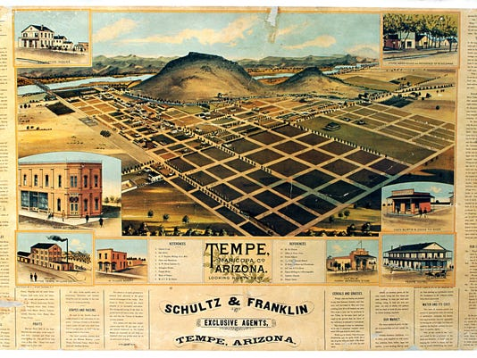 Map Of Arizona Only.Tempe History Questions On Treasured Old Map Get Answers From