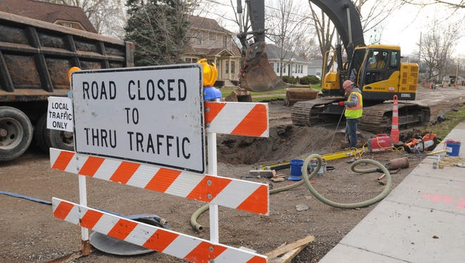 Crews from Jossart Brothers Utility Excavating work to reconstruct New York Avenue near Elmwood Road in this 2015 file photo.