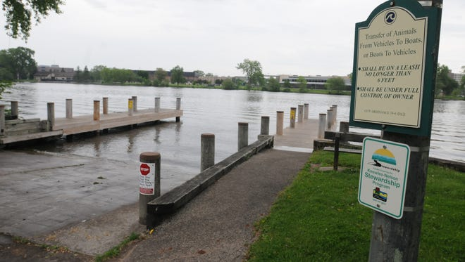 William A Steiger Park and boat launch.  City of Oshkosh passed an ordinance prohibiting fishermen from fishing on the docks at boat launches.