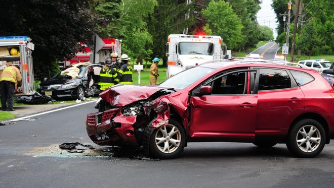 Two people were injured Wednesday when their cars collided on Naughtright Road.