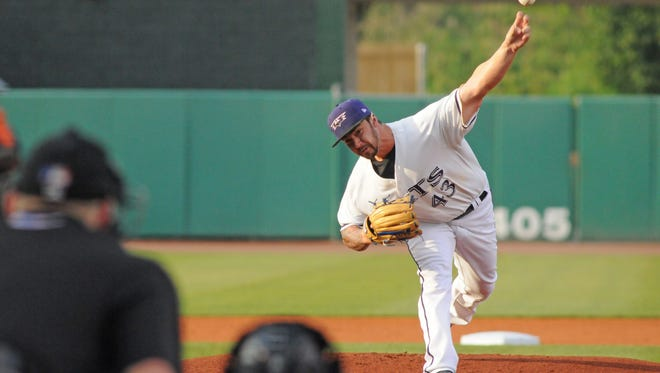 Brandon Finnegan pitches Aug. 14 for the Louisville Bats.
