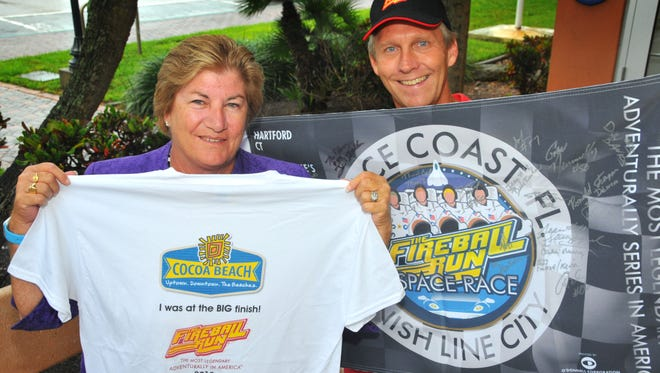 Melissa Huey Byron, director Marketing and Economic Development for the city of Cocoa Beach and Dave Netterstrom, the mayor of Cocoa Beach, are excited about the 2015 Fireball Run Space Race. The 2000 mile  race ends in Cocoa Beach with a parade in downtown Cocoa Beach Saturday afternoon at 3:30 p.m.