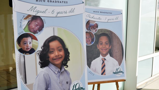 Before-and-after posters celebrating children's healthy graduation from the neonatal intensive-care unit (NICU) at the Natividad Medical Center in Salinas, which is marking its 10th anniversary.