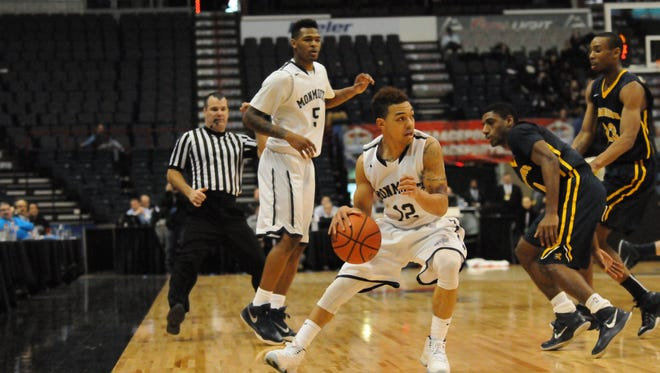 Monmouth University's Justin Robinson (12) and Deon Jones (5) were named preseason All-MAAC on Wednesday evening. The Hawks were voted second in the league's preseason poll