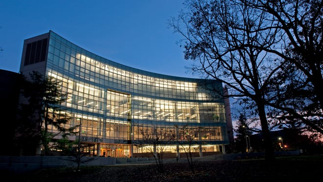 Exterior photographs of the newly expanded Wharton Center for the Performing Arts.