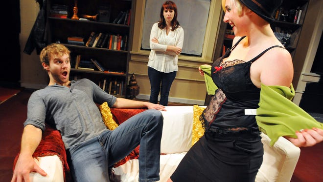Zack Roundy of Melbourne as Martin, Ariel Kastovich of Palm Bay as Kate and Corey Beattie of Port St John as Lzzy in Seminar a new comedy playing upstairs at the Henegar Center Melbourne November 6-15 .