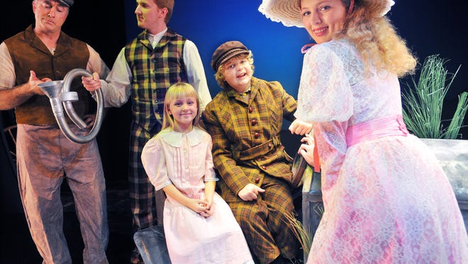 Tom Black of Merritt Island as Coggins, Mitchel Burns of Palm Bay as Caractacus Potts, Katie Hjortsberg age 8 of Melbourne Beach as Jemima ,Anderson Law age 10 of Rockledge as Jeremy and Emily Dervelle of Viera as Truly in Chitty Chitty Bang Bang held at the Historic Cocoa Village Playhouse November 20 through December 6, 2015 .