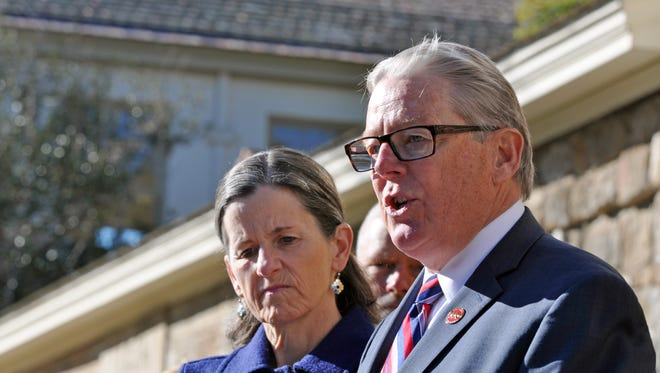 Senator Bill Monning announces on Tuesday morning he will be running for reelection in 2016 to California's 17th State Senate District. His wife Dr. Dana Kent is to his right.