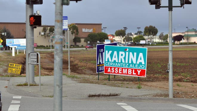 Political signs on Boronda Rd. near the McKinnon School in Salinas.