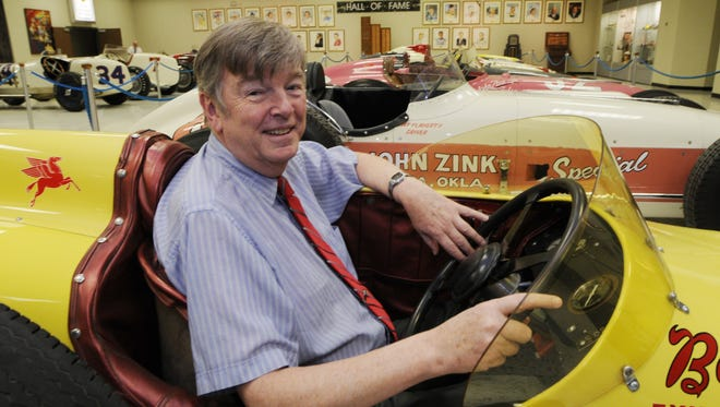 Donald Davidson with  roadsters that ran at the Indianapolis Motor Speedway. His favorite is the 1957 Belond Exhaust Special driven by Sam Hanks.