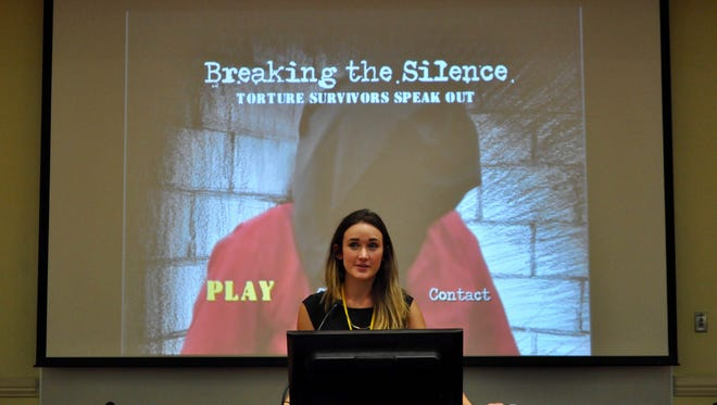 """Co-Director of Seminoles Against Torture Lauren Watford introduces the FSU film """"Breaking The Silence."""""""