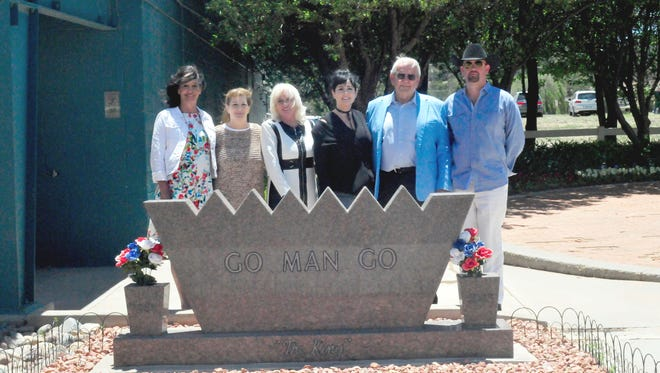 Pictured from left; Harriett Peckham's daughters Mary Lou Cozean, Betty Ann Booth, Harriett Geick and Joann House along with former Buena Suerte Ranch manager and veterinarian Dr. Leonard Blach, and Ruidoso Downs' president and general manager Shaun Hubbard.