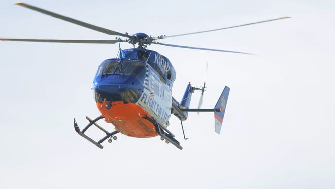 Flight For Life medical helicopter responded to a man injured by a falling lawn mower near Rush Lake Sunday.