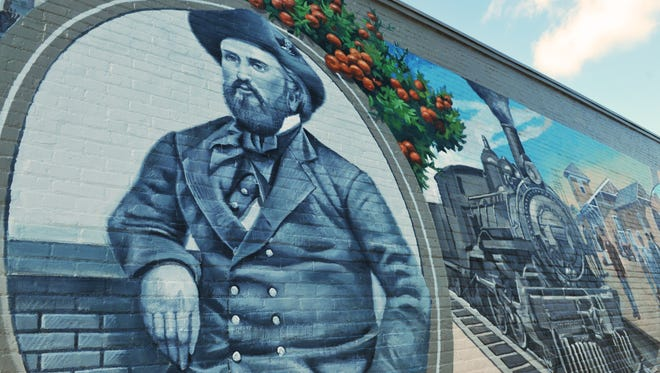 A detail of the mural shows Colonel Henry Titus, the man who put the Titus in Titusville. The North Brevard Mural Society is producing an approx. 90 foot long and 13 foot high mural showing historic places and people inTitusville. The project is nearing completion on the north side of the North Brevard Historical Museum in downtown Titusville by mural artist Keith Goodson, of Auburndale, Fl.