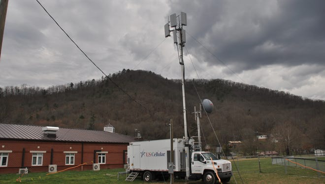 The temporary U.S. Cellular tower on the grounds of Hot Springs Elementary School, seen here in March, remains an issue for Hot Springs town leaders.