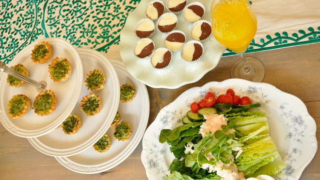 Treat your dress shopping entourage to (from left, counterclockwise) Mini Zucchini & Pesto Quiches,  Crab Louis Salad, Mimosas and Tuxedo Cashew Turtle Cups.