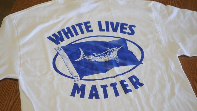 This shirt is being sold at the White Marlin Marina on Somerset Street near the Ocean City inlet.