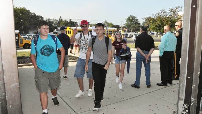 Students arrive for the first day of school on the MCVTS East Brunswick Campus.