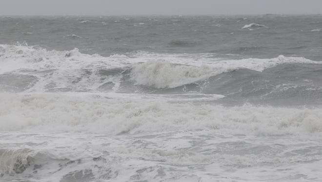 Waves in Bethany Beach, reaching a height of eight feet, during storm.