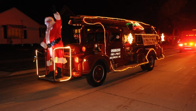 The Oshkosh Fire Department and Santa made the rounds for their annual holiday food and toy drive, as seen in this file photo. This year's drive starts Monday.