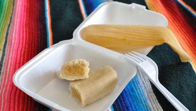 One of the sweet tamales available from Alicia's Tamale Factory food trailer is filled with pumpkin.