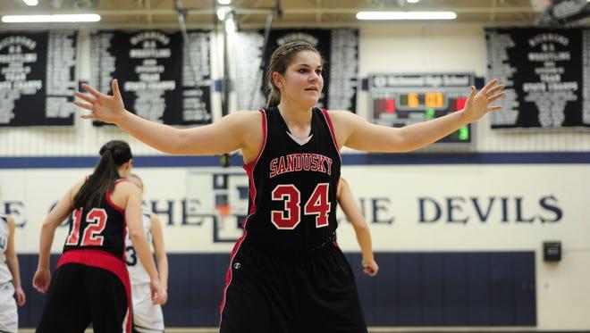Sandusky's Jessica Kursinsky defends the inbounder at Richmond High School on Jan. 3, 2017.