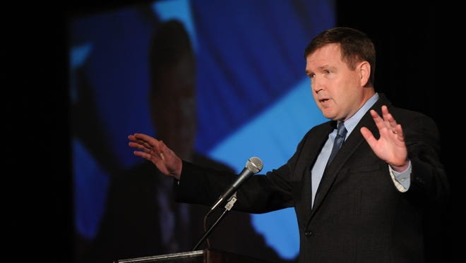 State Sen. Mike Doherty speaking at the Defending the American Dream Summit in Parsippany in October.