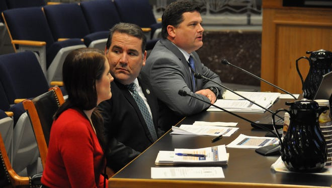 Louisiana Governor's Office of Homeland Security and Emergency Preparedness Chief of Staff William Rachal (center) present the status of FEMA's manufactured housing units (MHUs) and the Shelter at Home Program while fielding questions from the Senate select Committee on Homeland Security Thursday.