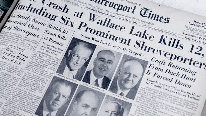 Front page of The Shreveport Times on January 11, 1954, where the plane crash at Wallace Lake was the top story.