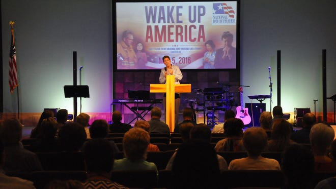 Together In Prayer (TIP) Founder Gray Harwell speaks at the 2016 National Day of Prayer event in Estero. This year's event will be May 4 at noon at Legacy Church.