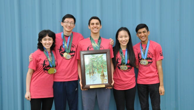 Charter School of Wilmington Team A, 2017 Delaware Envirothon champion, from left to right: Ashley Pennington, Allen Wang, Connor Sweeney, Catherine Yu and Siddharth Gangrade.