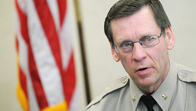 Lincoln County Sheriff Dennis Johnson speaks in Sioux Falls in 2015. Johnson's county commissioners are weighing their options on sharing space in a new Minnehaha County Jail, which currently has little space for inmates from its neighbor to the south.
