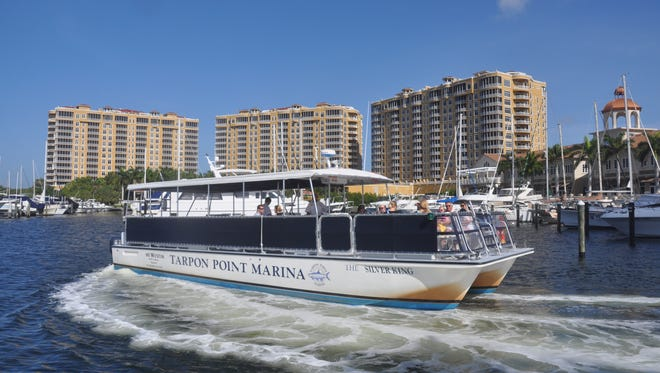 The 42-passenger Silver King leaves Tarpon Point Marina every morning,  transporting people to Fort Myers Beach.