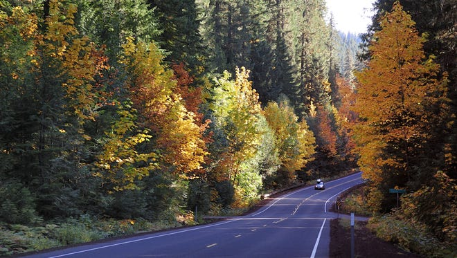 Fall hues adorn some of 70 miles of the Historic Columbia River Highway in Oregon.