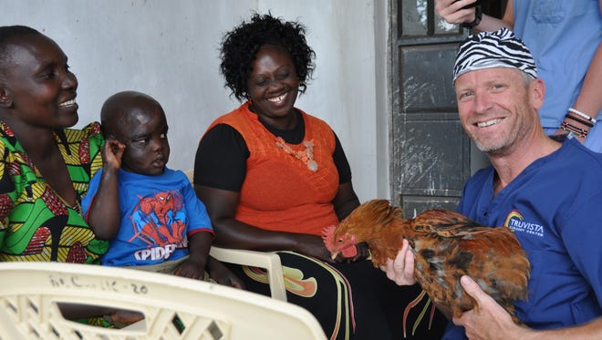 The mother of a child severely injured by a fall head first into boiling water  presented Dr. Page with a very special gift, a chicken. This represented a significant expense and a very valuable expression of her gratitude for the treatment he provided.