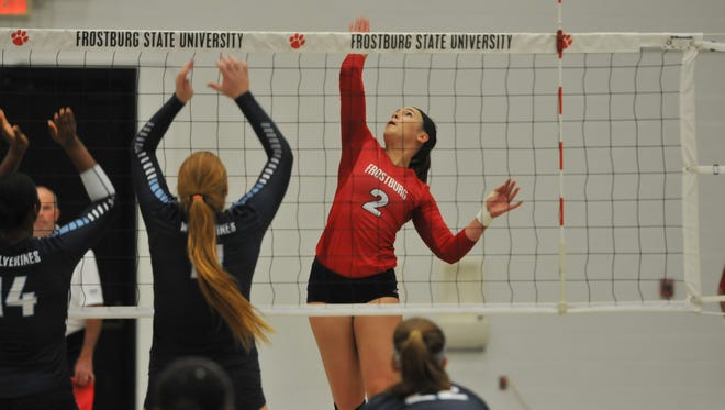 Zoe Harris goes up for the ball for Frostburg State