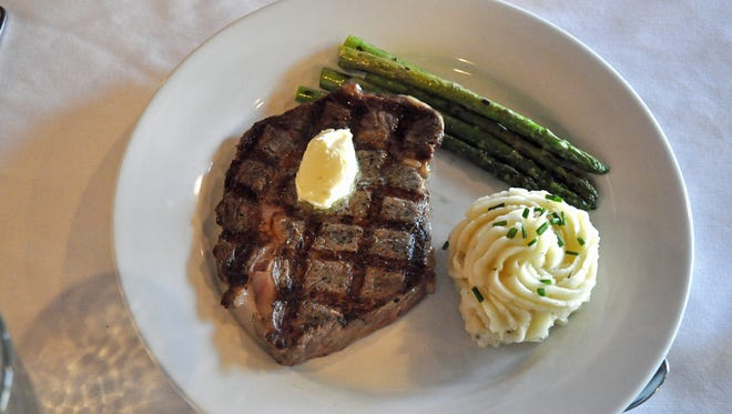 A rib-eye steak with asparagus and mashed potatoes was one of four entree options at the TSTC Culinary Institute Student-Led Restaurant on Oct. 18, 2017.