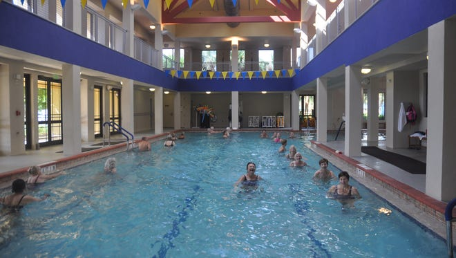 Pelican Preserve has two outdoor pools and one indoor pool. The indoor pool has a walking/running track above it.