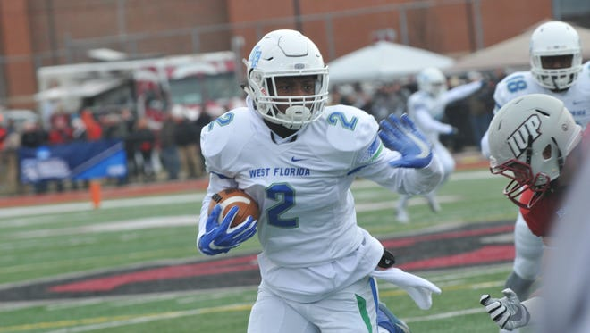 UWF linebacker Andre Duncombe returns an interception against Indiana, Pa., on Saturday in Indiana, Pennsylvania.
