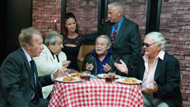 Mobster and playwright meet at the restaurant -- from left, Tony Richards, Frank Lillo, Jennifer Sade, Joe Moore, Fortunato Seveninni, and Mike Tenzyk.
