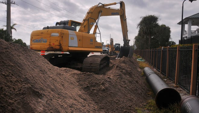 Sewer lines are being installed along South Patrick Drive.