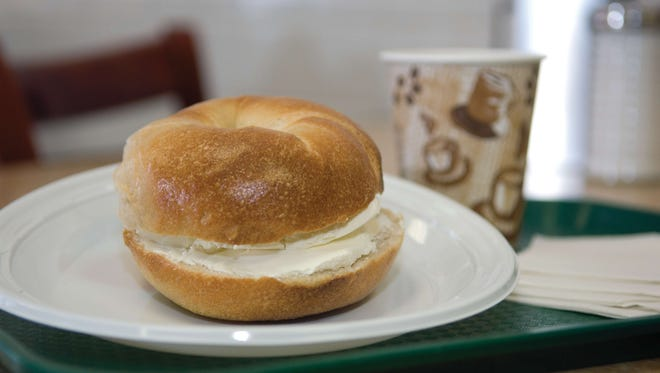 A Sam's bagel with cream cheese at Sam's Bagel & Deli in Wayne that just closed its doors