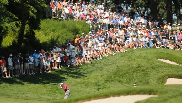 August 19, 2008. Phil Mickelson hits his second shot on 5th hole, the five and dime hole, during opening round action at the Barclays at the Ridgewood County Club in Paramus. The event is now known as The Northern Trust.